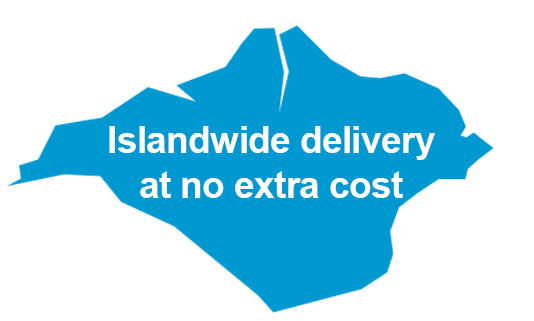 Islandwide delivery is available on all products at no extra cost.